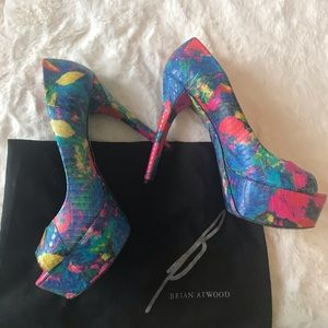 Brian Atwood Floral Multi-colored Pump